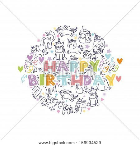 happy birthday with unicorns icons in circle shape over white background. colorful design. vector illustration