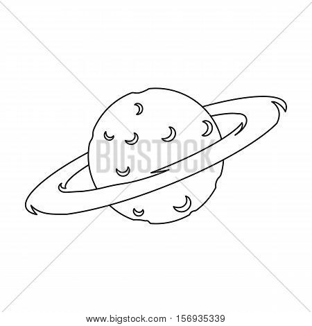 Saturn icon in outline style isolated on white background. Space symbol vector illustration.