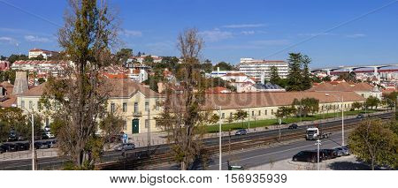 Lisbon, Portugal. October 31, 2016: Cordoaria Nacional. Historical factory where the ropes for the Tall-Ships of the sea-exploration era were produced. Currently used for art exhibition events.