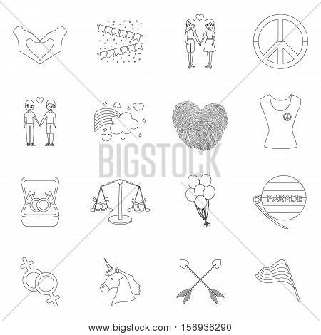 Gay set icons in outline style. Big collection of gay vector symbol stock