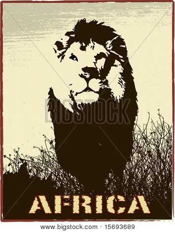 Africa image with lion silhouette