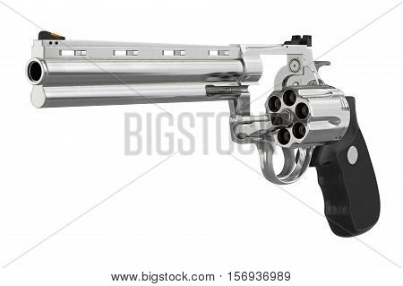 Revolver pistol chrome black handle. 3D illustration