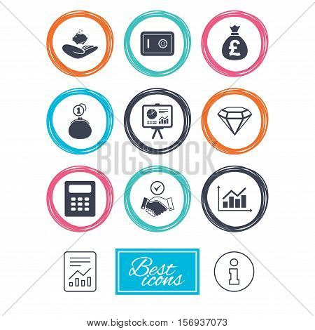 Money, cash and finance icons. Handshake, safe and calculator signs. Chart, safe and jewelry symbols. Report document, information icons. Vector