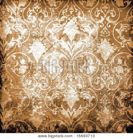 Grungy textured Victorian wallpaper