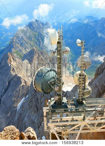 ZUGSPITZE GERMANY - JULY 5, 2016: Transmitters for mobile technology on a Germany's highest peak in 2962m.