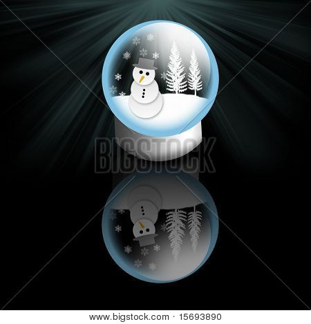 Snow man in a snow globe on a reflective surface