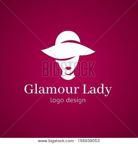 women elegant hat for fashion ladies and lips. Glamour lady in hat logo design. White isolated illustration in pink background girl silhouette. Concept for beauty salon accessories fashioncosmetics