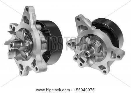car engine cooling pump on a white background