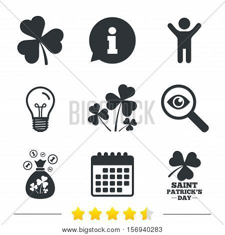 Saint Patrick day icons. Money bag with clover and coins sign. Trefoil shamrock clover. Symbol of good luck. Information, light bulb and calendar icons. Investigate magnifier. Vector