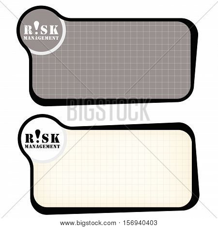 Set of two vector text frames and graph paper and the words risk management