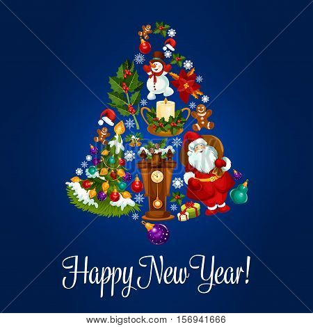 Happy New Year. Vector poster with christmas symbols of jingle bell, christmas balls, santa claus, new year gifts, sweets, wall clock, christmas tree with garland lights, gingerbread cookies, candles, biscuits, champagne bottle, snow on fir cones