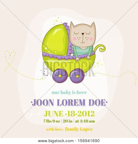 Cute Baby Cat in a Carriage - Baby Shower or Arrival Card - in vector