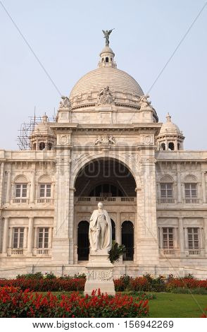 KOLKATA, INDIA - FEBRUARY 08: Victoria Memorial building in Kolkata, West Bengal, India on February 08, 2016