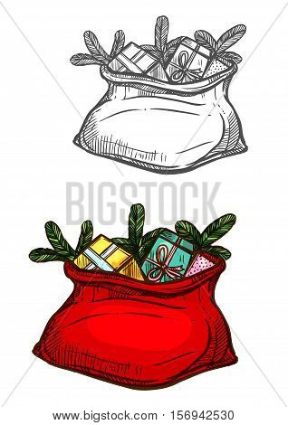 Christmas gifts. Santa bag sack full of new year gifts, sweets, christmas tree. Vector isolated color sketch