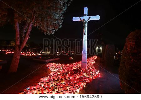 Illuminated Cemetery On All Saints Day
