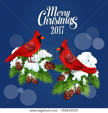 Merry Christmas 2017 poster with cardinal red birds sitting on fir and pine branches with cones. Winter blur of snowflakes falling. New Year greeting card