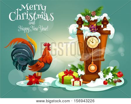 Merry Christmas, New Year vector poster with red rooster cock, wooden retro pendulum cuckoo clock with chimes, christmas gifts, pine, fir and holly leaf wreath, bows, snow