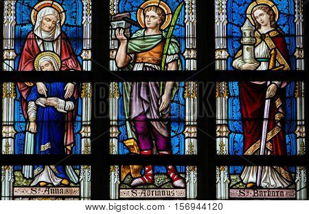 Stained Glass - Saints Ana, Adrian And Barbara