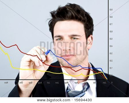 Attractive business man drawing on a graph