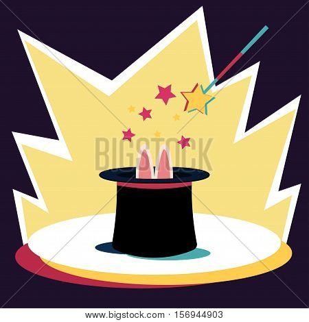 Rabbit in the hat Vector illustration Rabbit ears sticking out of the magician's hat Flat design