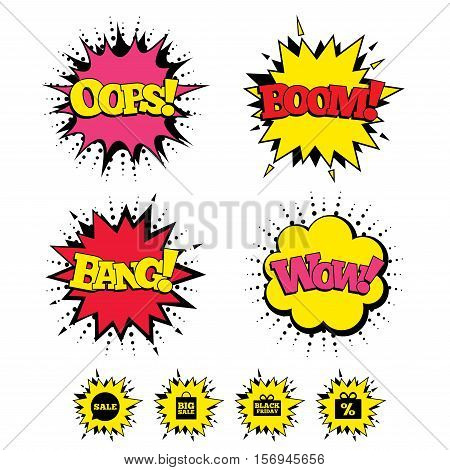 Comic Boom, Wow, Oops sound effects. Sale speech bubble icon. Black friday gift box symbol. Big sale shopping bag. Discount percent sign. Speech bubbles in pop art. Vector