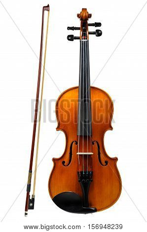 Violin with bow isolated on white background