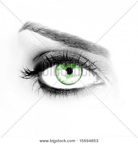Macro shot of a woman's green eye