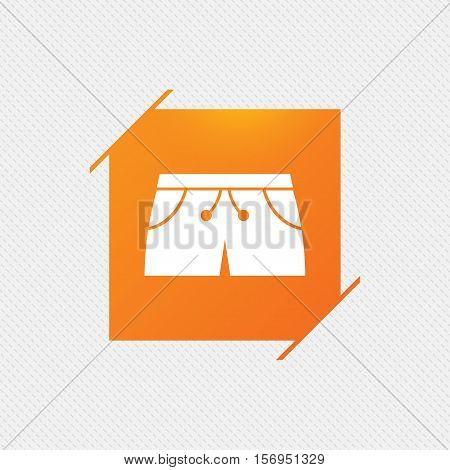 Women's sport shorts sign icon. Clothing symbol. Orange square label on pattern. Vector