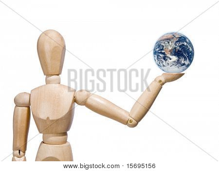 Wooden man holding the Earth