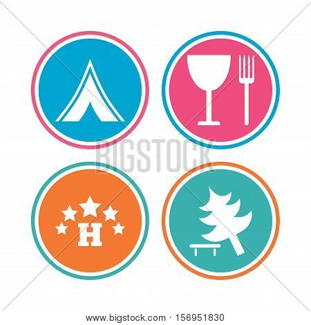Food, hotel, camping tent and tree icons. Wineglass and fork. Break down tree. Road signs. Colored circle buttons. Vector