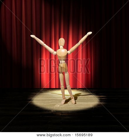Wooden man performing on a stage