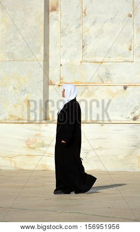 JERUSALEM ISRAEL 25 10 16: Veiled woman at the temple mount, In July 2010, some Israeli lawmakers and women's rights activists proposed a bill to the Knesset banning face-covering veils.