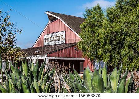 SAN DIEGO, CALIFORNIA - AUGUST 13, 2016:  The Old Town Theatre in the historic birthplace of San Diego and home to one of San Diego's leading theater companies.