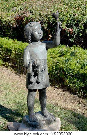 HAIFA, ISRAEL 07 11 2016: Sculpture Garden, also known as Mitzpor HaShalom (Vista of Peace), in Haifa displays the sculptures of Ursula Malbin. The Garden has a stunning view of the Haifa bay, HAIFA, ISRAEL 07 11 2016: Sculpture Garden, also known as Mitz