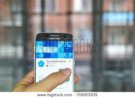 MONTREAL, CANADA - JUNE 23, 2016 : Google app on Samsung S7 screen. Accessibility Scanner is a tool that suggests accessibility improvements for Android apps without requiring technical skills