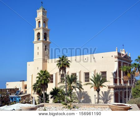 JAFFA ISRAEL 05 11 16: Saint Peter Church is a Franciscan Church in Jaffa. The church was built in 1654 in dedication to Saint Peter was erected by Frederick I and restored by Louis IX of France