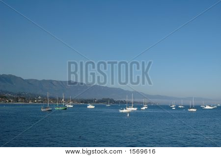 Santa Barbara Seascape Wih Boats And Blue Sky