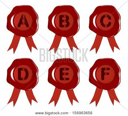 A to F wax stamps or seals over a white background