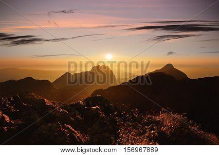 Mountain sunset sky Doi Luang Chiang Dao Thailand.