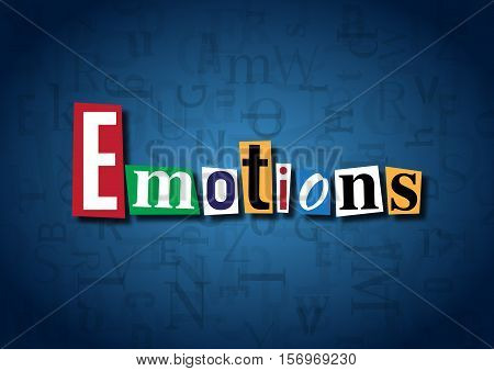 The word Emotions made from cutout letters