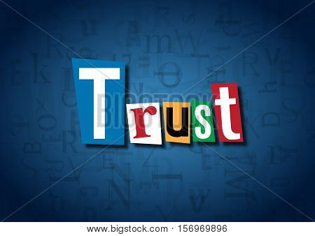 The word Trust made from cutout letters