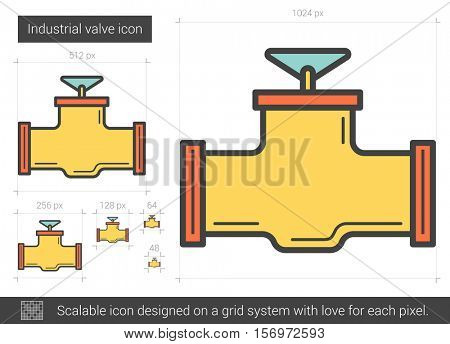 Industrial valve vector line icon isolated on white background. Industrial valve line icon for infographic, website or app. Scalable icon designed on a grid system.