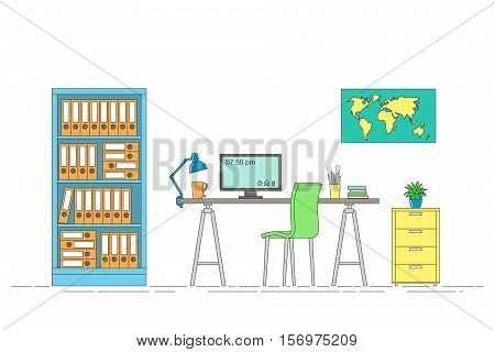Thin line illustration of interior equipment of a workstation