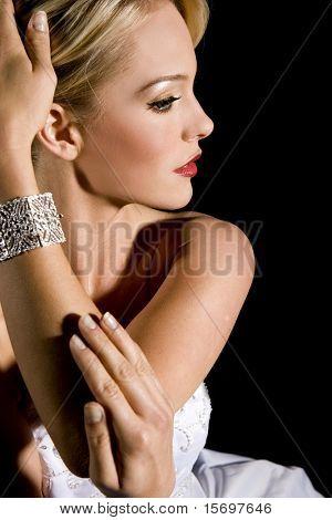 Gorgeous woman wearing a diamond bracelet