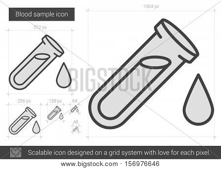 Blood sample vector line icon isolated on white background. Blood sample line icon for infographic, website or app. Scalable icon designed on a grid system.