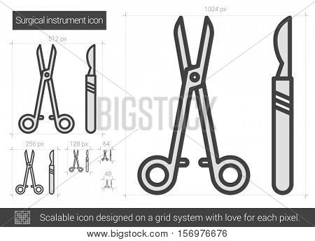 Surgical instruments vector line icon isolated on white background. Surgical instruments line icon for infographic, website or app. Scalable icon designed on a grid system.