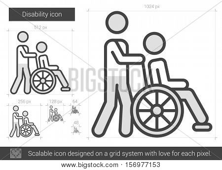 Disability vector line icon isolated on white background. Disability line icon for infographic, website or app. Scalable icon designed on a grid system.