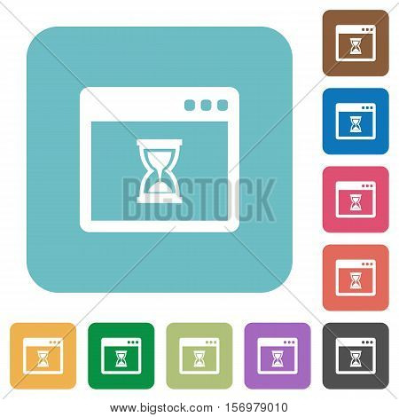 Waiting application white flat icons on color rounded square backgrounds