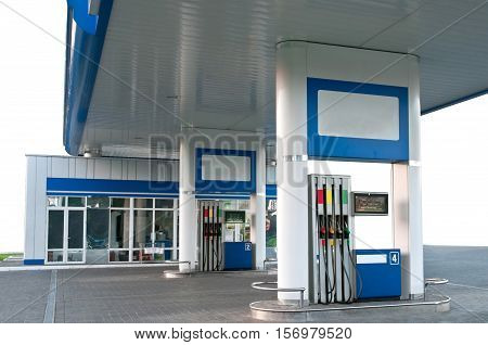 Gas station without car on the white background
