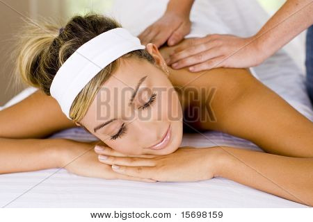Young woman in a relaxing spa